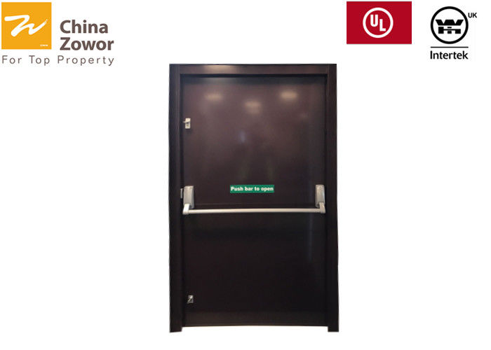 1.5 Hours Rated Walnut Wood Fire Resistant Wooden Doors For Commercial Buildings